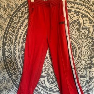 PINK Victoria Secret Red Side Button Track pants